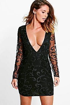Boutique Lia Sequin Print Plunge Bodycon Dress