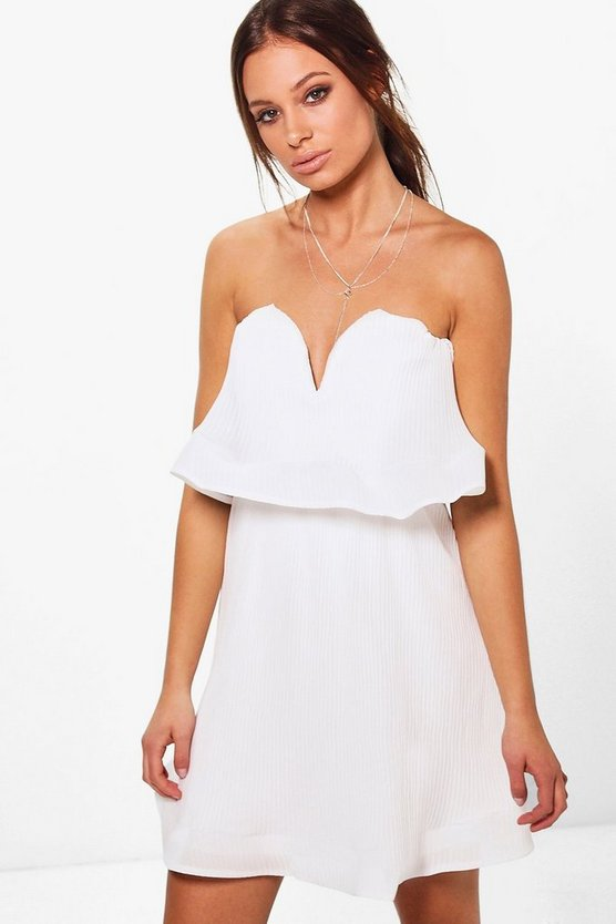 Gayna Pleated Off Shoulder Skater Dress