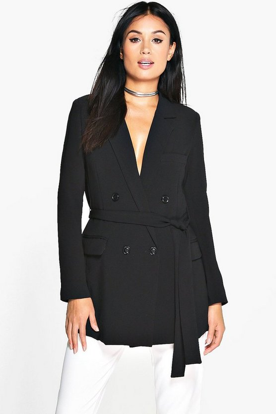 Lauren Woven Double Breasted Belted Blazer