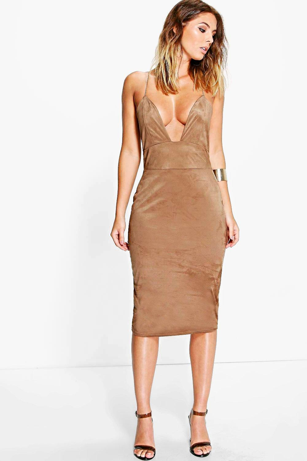 Rina Strappy Suedette Midi Bodycon Dress