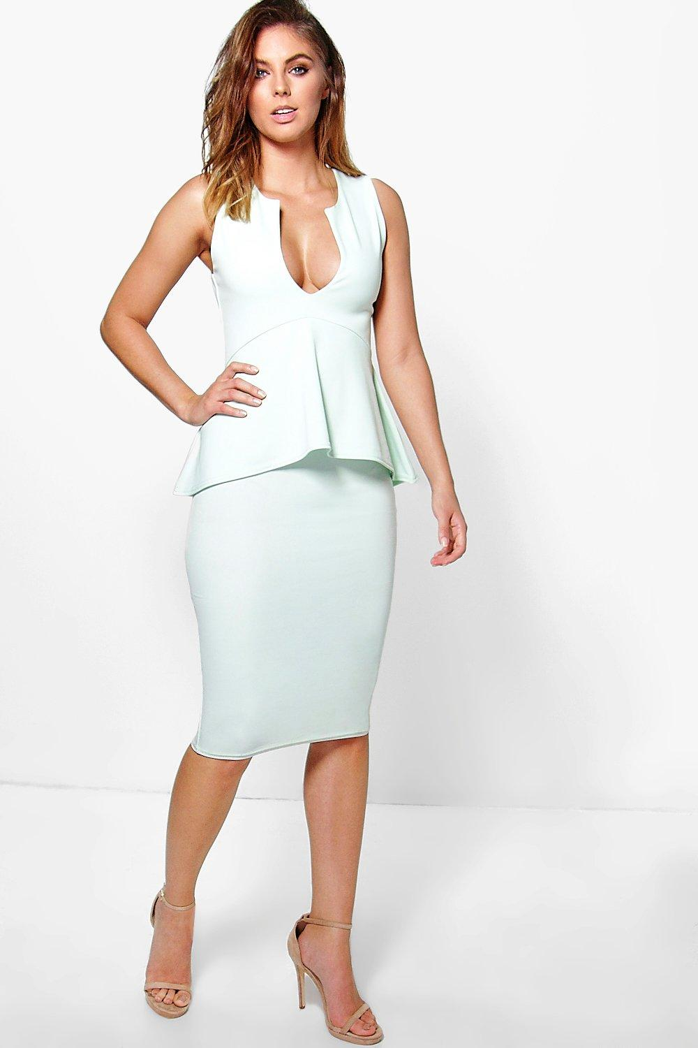 Harlie V Neck Peplum Midi Dress
