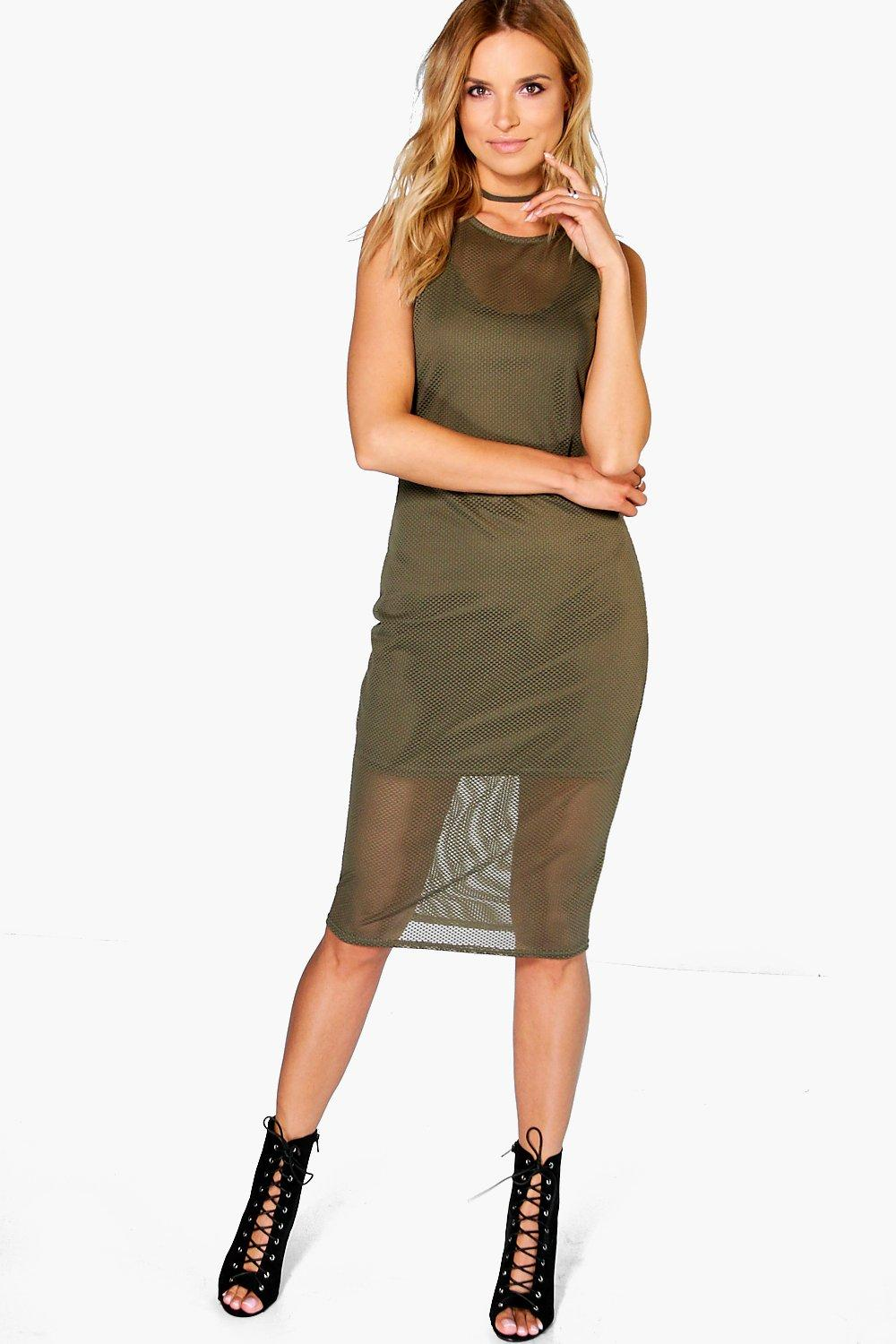 Jenelle Fishnet Sleeveless Midi Bodycon Dress