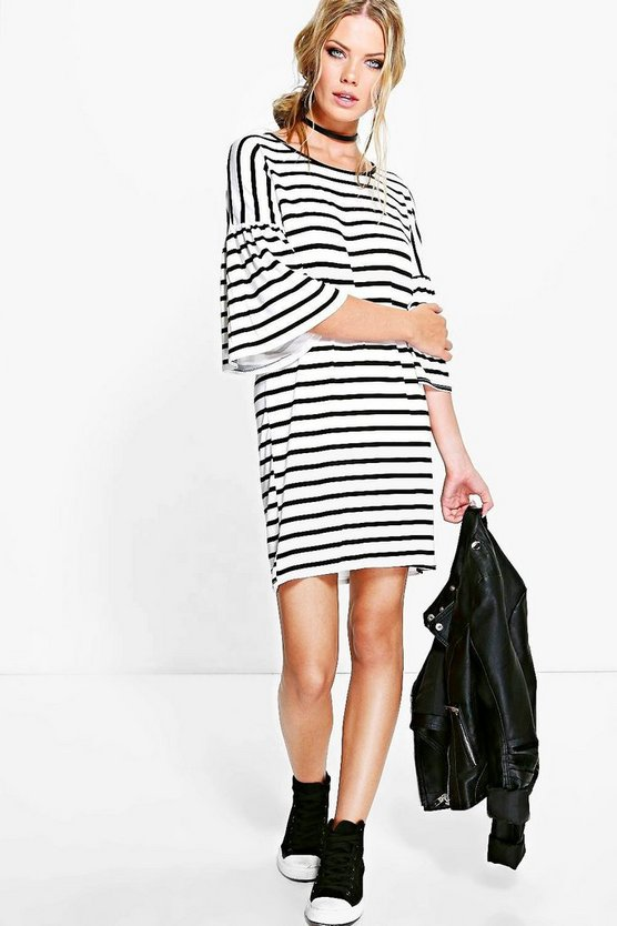 Shannon Striped Bell Sleeve Shift Dress