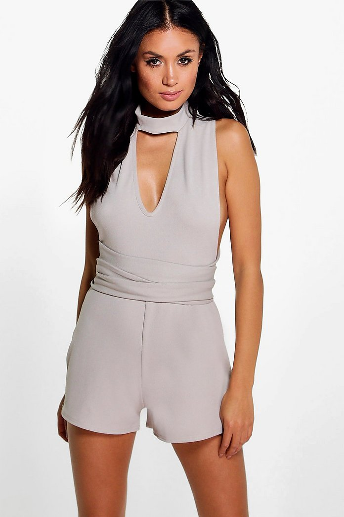 Jen High Neck Twist Playsuit