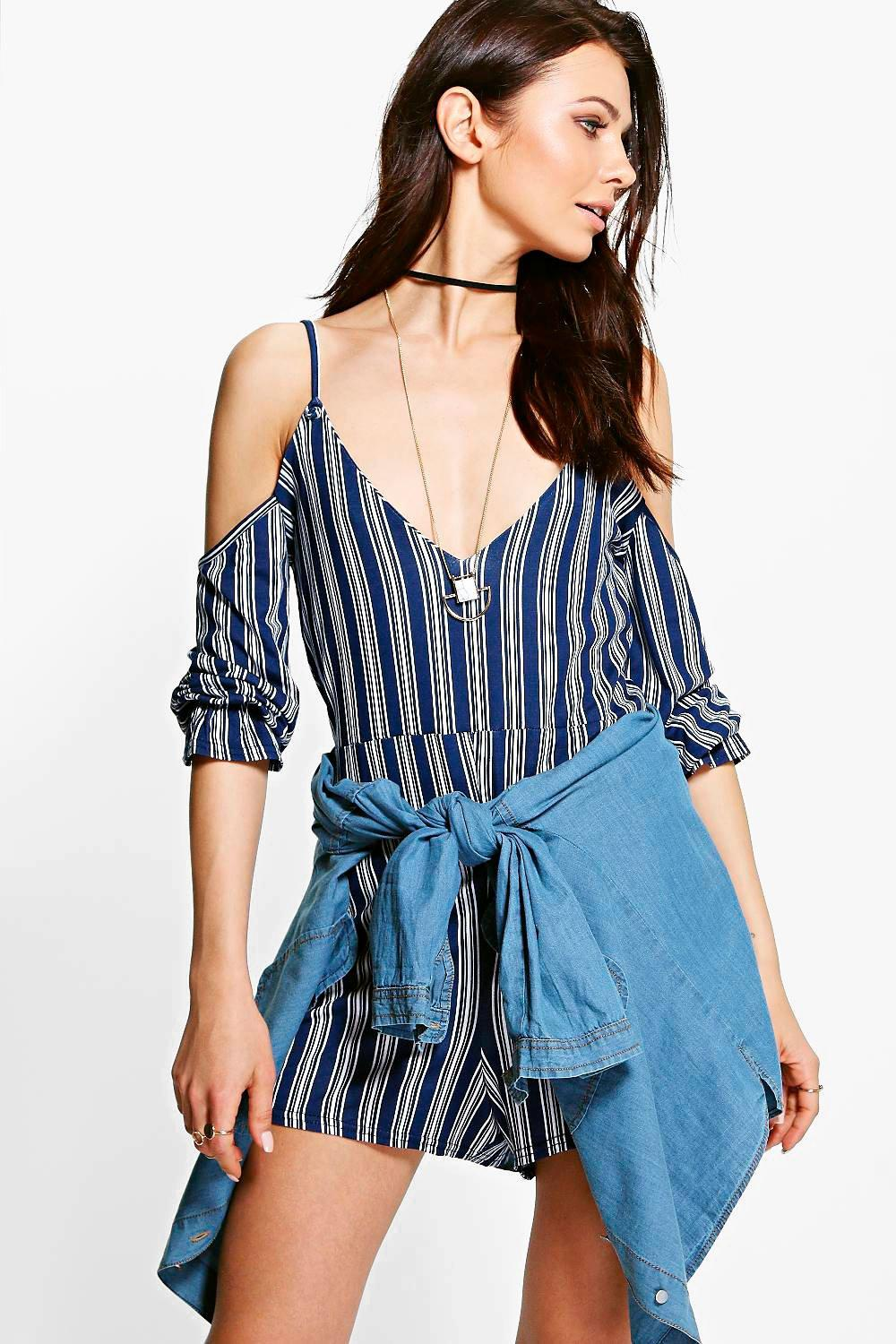 Beth Striped Neck Cold Shoulder Playsuit
