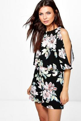 Louise Floral Split Sleeve Playsuit