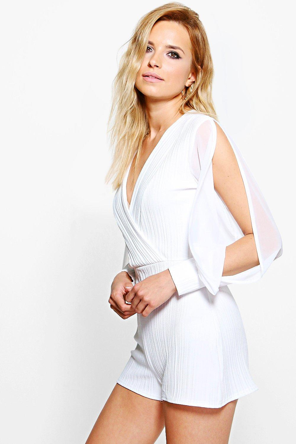Zoe Textured Split Sleeve Wrap Playsuit