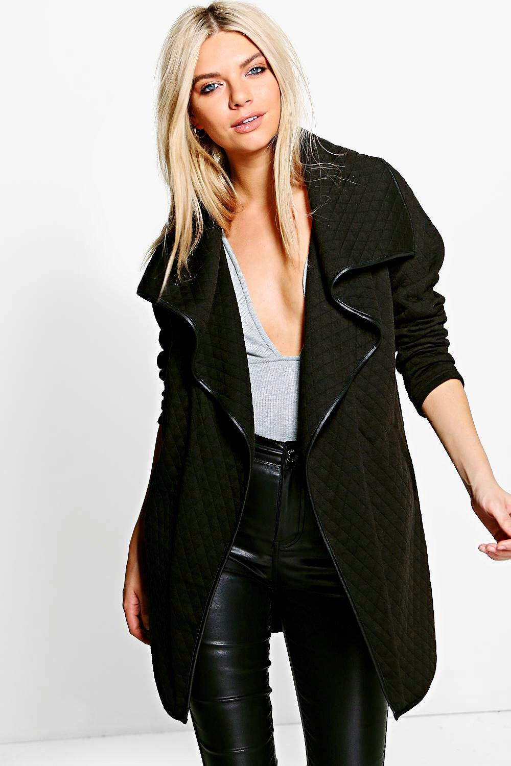 Quilted Waterfall Jacket - black