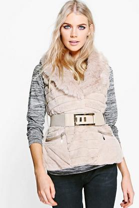 Amber Faux Fur Belted Gilet