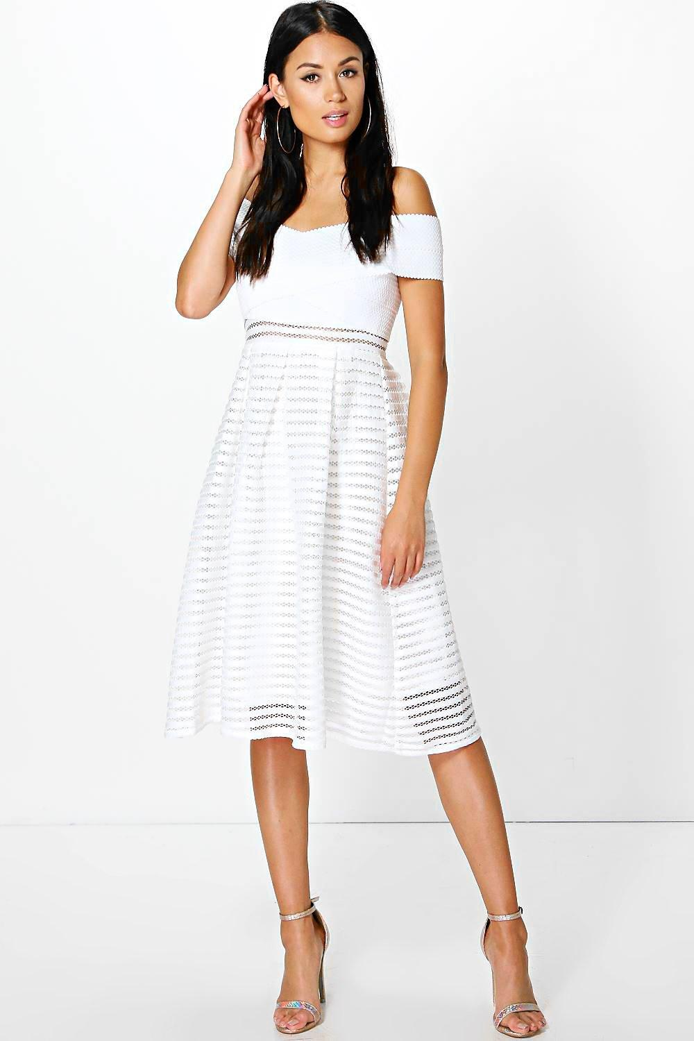 Ellie Off Shoulder Panelled Midi Skater Dress