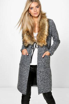 Olivia Faux Fur Shawl Collar Chuck On Coat