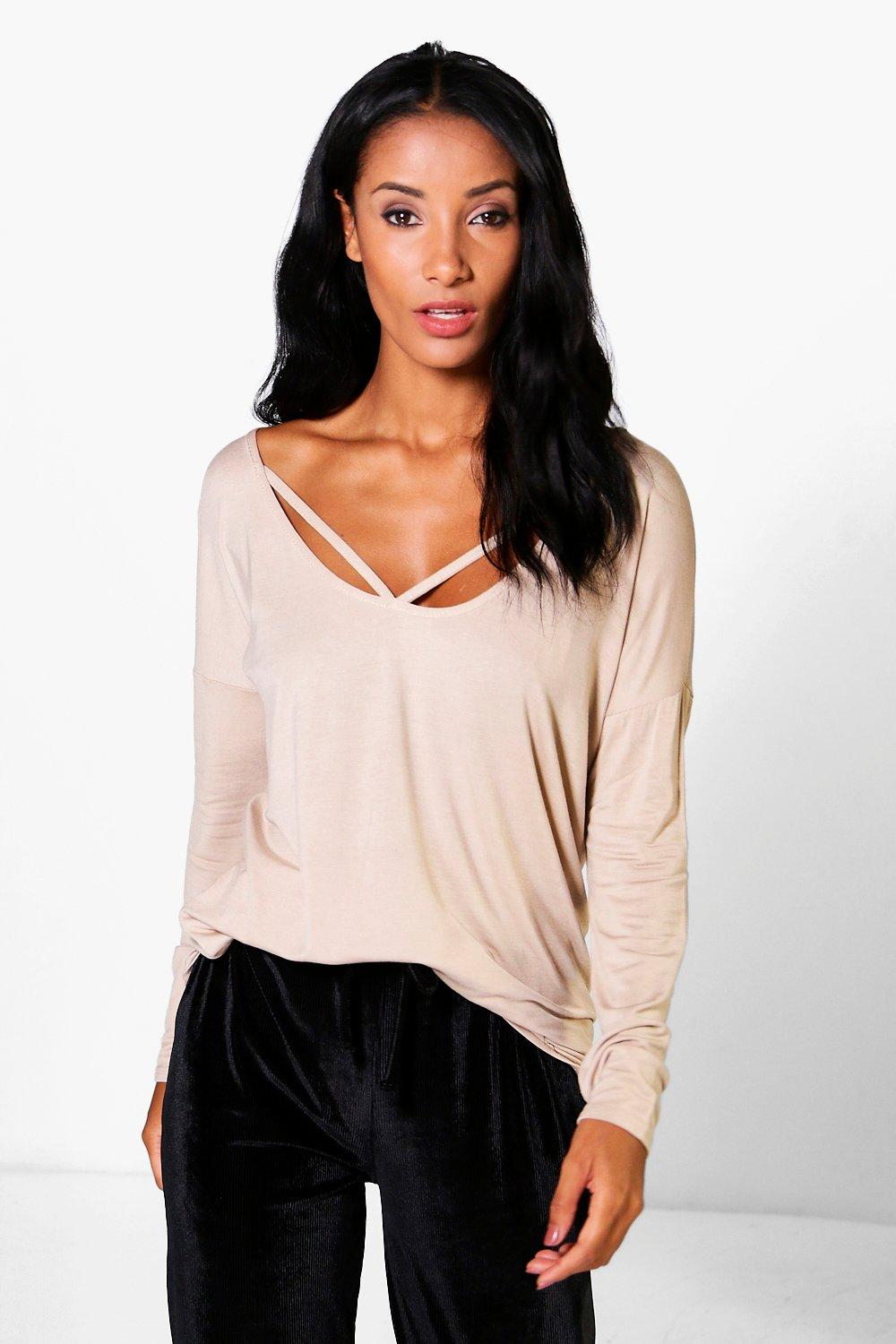 Emily Long Sleeve Strappy Front Oversized T-Shirt