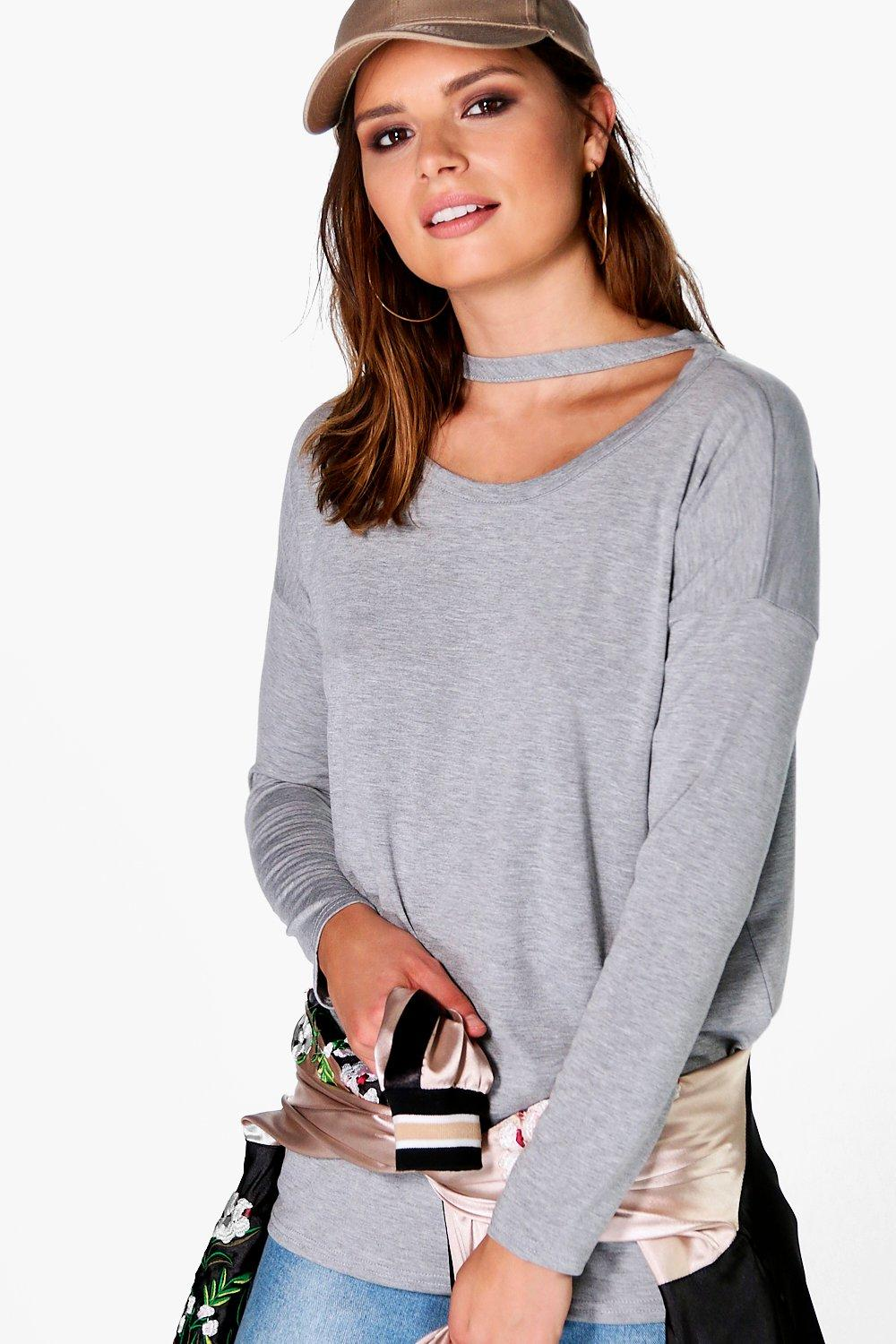 Annabelle Neck Strap Detail Long Sleeve T-shirt