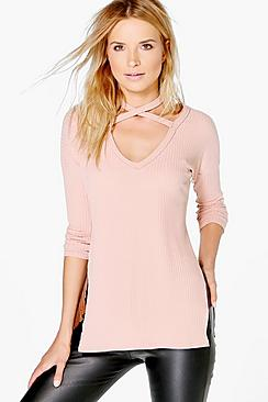 Jessica Soft Rib Oversized Strappy Neck Top