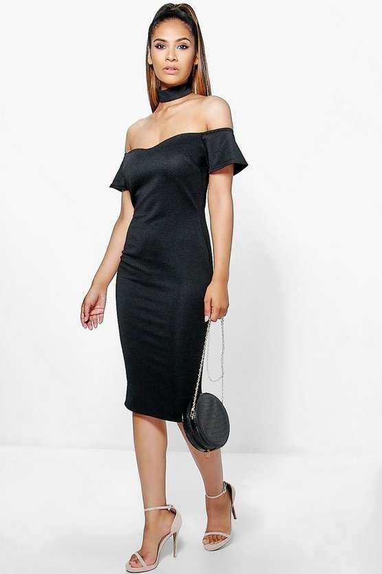 Tasmin Choker Off Shoulder Midi Dress