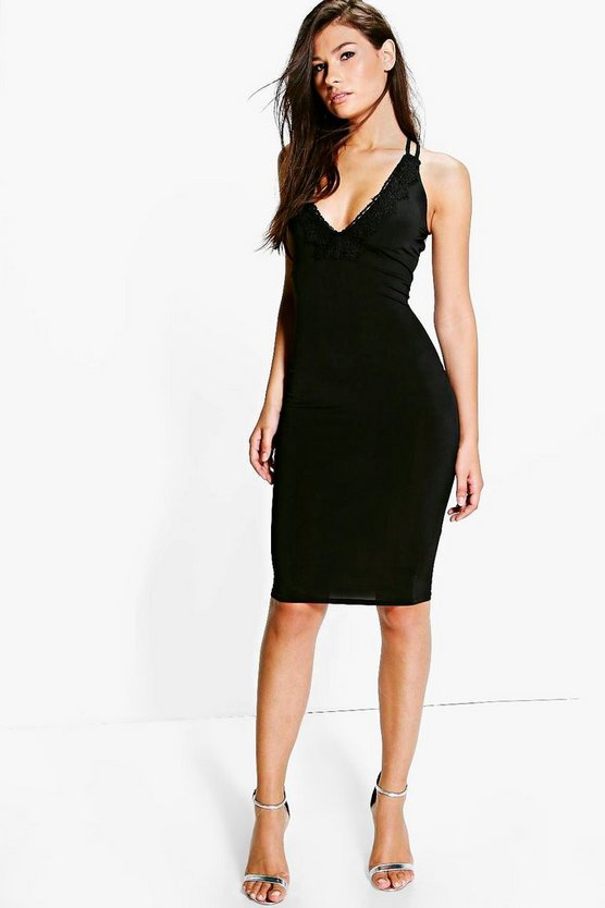 Orla Crochet Trim Strappy Midi Dress