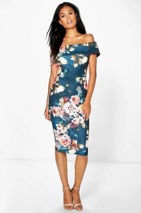 Marnie Off Shoulder Floral Midi Dress