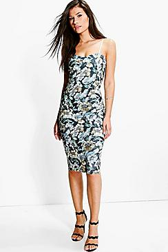 Naomi Sweetheart Neck Floral Midi Dress