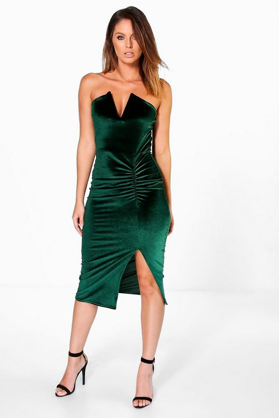 Velvet V Plunge Ruched Bandeau Midi Dress