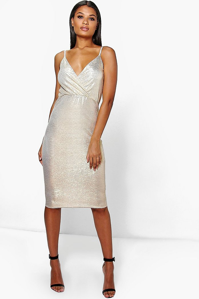 Kiera Metallic Wrap Top Midi Dress