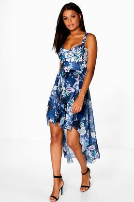 Lia Sweetheart Neck Dip Hem Skater Dress