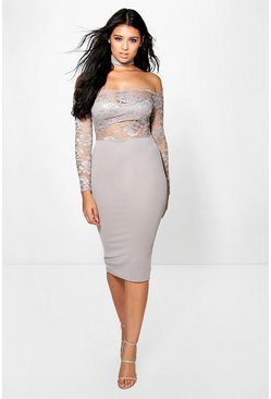 Jess Lace off Shoulder Choker Midi Dress