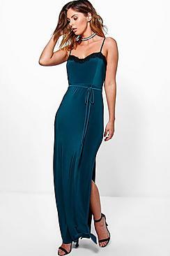 Abbie Lace Trim Tie Waist Maxi Dress