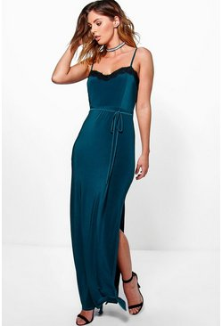 Abbie Lace Trim Tie Waist Maxi Dress