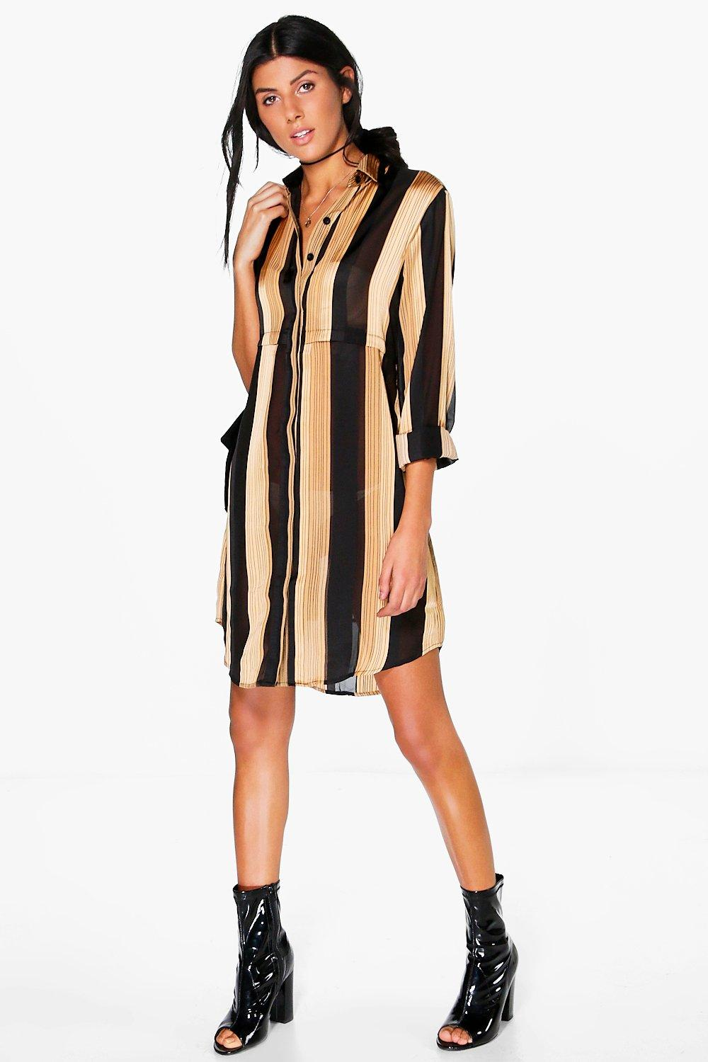 Lola Sheer Stripe Shirt Dress