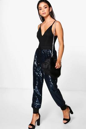 Savannah All Over Sequin Relaxed Joggers