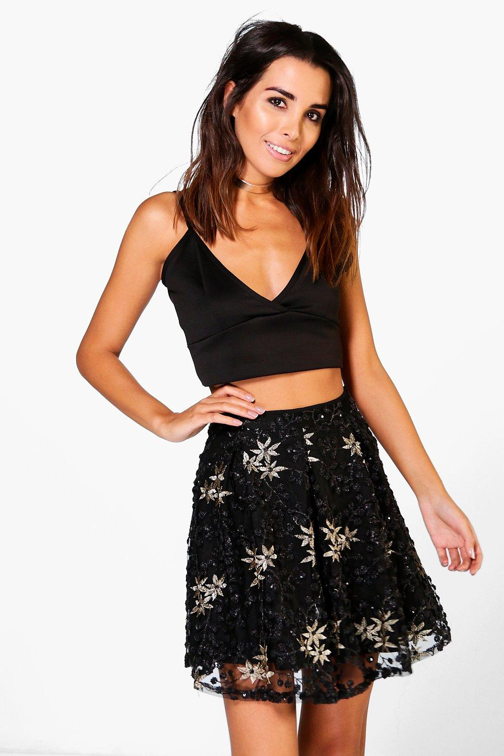 Boutique Alala Embroidered Sequin Skater Skirt