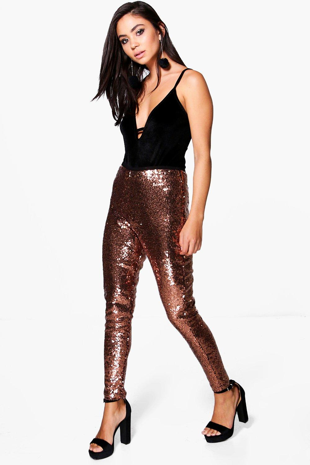 Loreli Super Skinny All Over Sequin Leggings rose gold