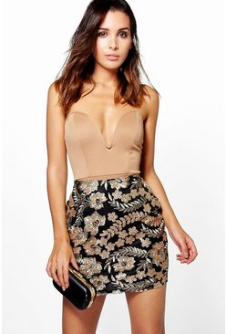 Elettera Embroidered Sequin Mini Skirt