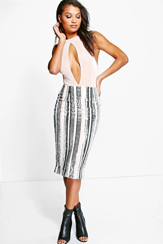 Boutique Isabeli Sequin Stripe Midi Skirt