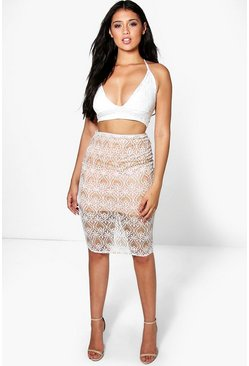 Boutique Honor Embellished Midi Skirt