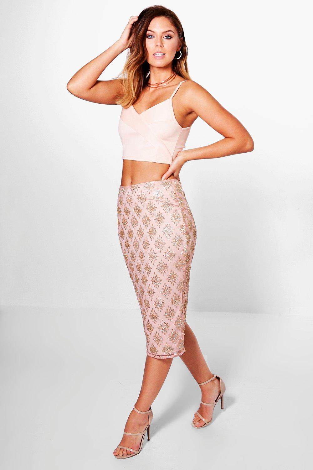 Boutique Arizona Glitter Mesh Midi Skirt