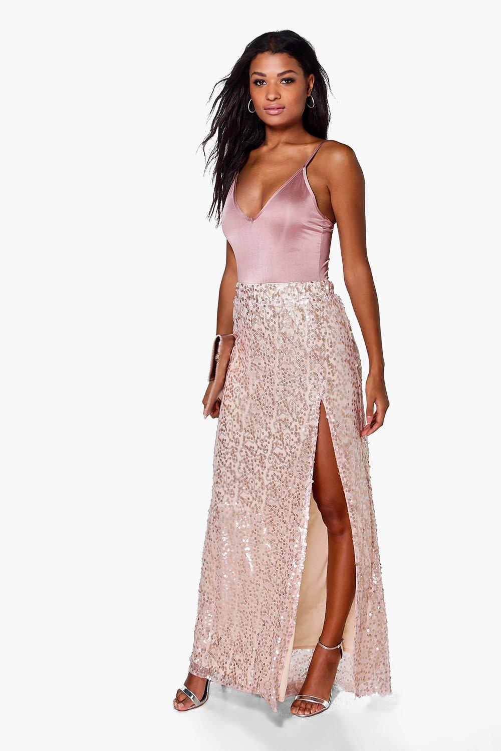 boutique lola thigh split sequin maxi skirt boohoo