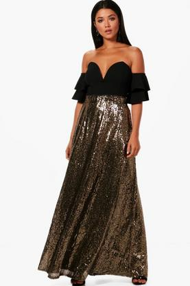 Boutique Ruby Floor Sweeping Sequin Maxi Skirt