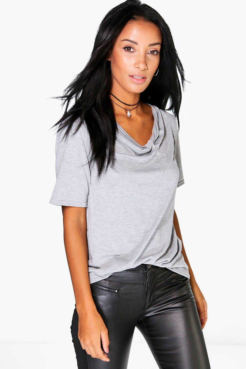 Caroline Twist Front Cut Out T-Shirt