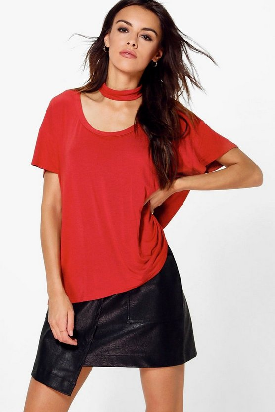 Ellie Low Scoop Neck Chocker T-Shirt
