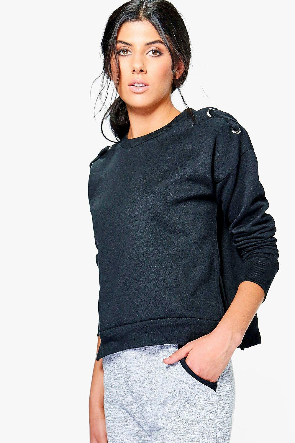 Imogen Eyelet Cross Detail Side Split Sweater