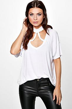 Zoe Cross Over Choker Detail T-Shirt