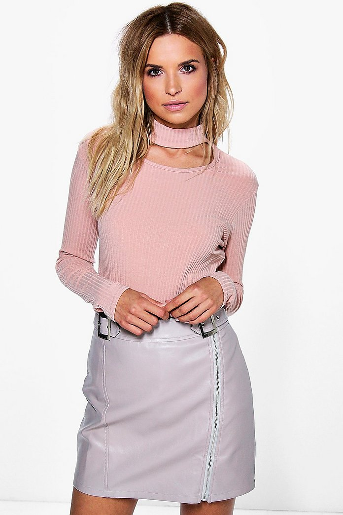 Tanya Large Rib Choker Neck Long SleeveTop