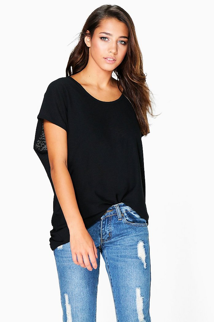 Kate Textured Fabric Oversized T-Shirt