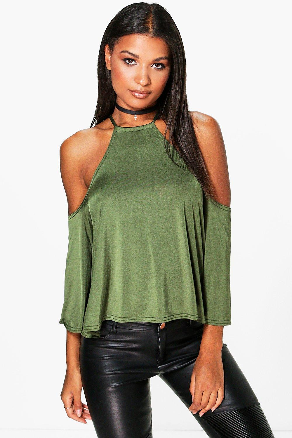 Sophia  Slinky Cut Away Oversized Top