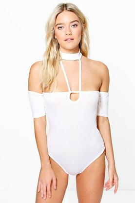 Bex Caged Strappy Neck Choker Bodysuit