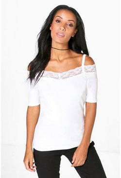 Eva Lace Trim Cold Shoulder Top