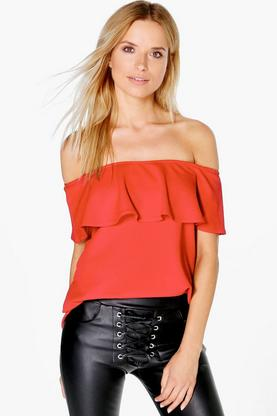 Hazel Crepe Frill Off The Shoulder Top