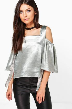 Bethany Satin Strappy Cold Shoulder Top