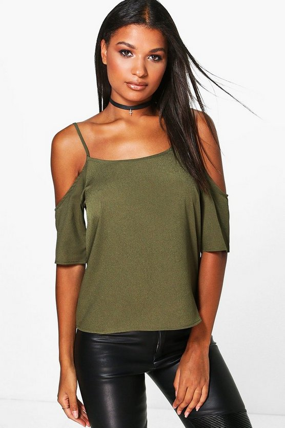 Aria Woven Cold Shoulder Top